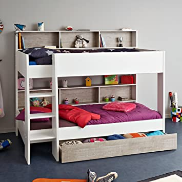 Happy Beds Tam Tam White And Grey Wooden Kids Bunk Bed With Underbed