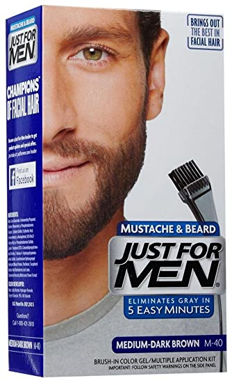 Amazon.com : Just For Men Brush-In Color Mustache & Beard - Medium ...