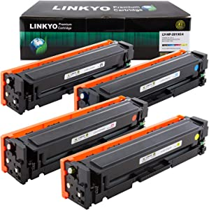 LINKYO Compatible Toner Cartridge Replacement for HP 201X 201A CF400X CF401X CF402X CF403X (Black, Cyan, Magenta, Yellow, 4-Pack)