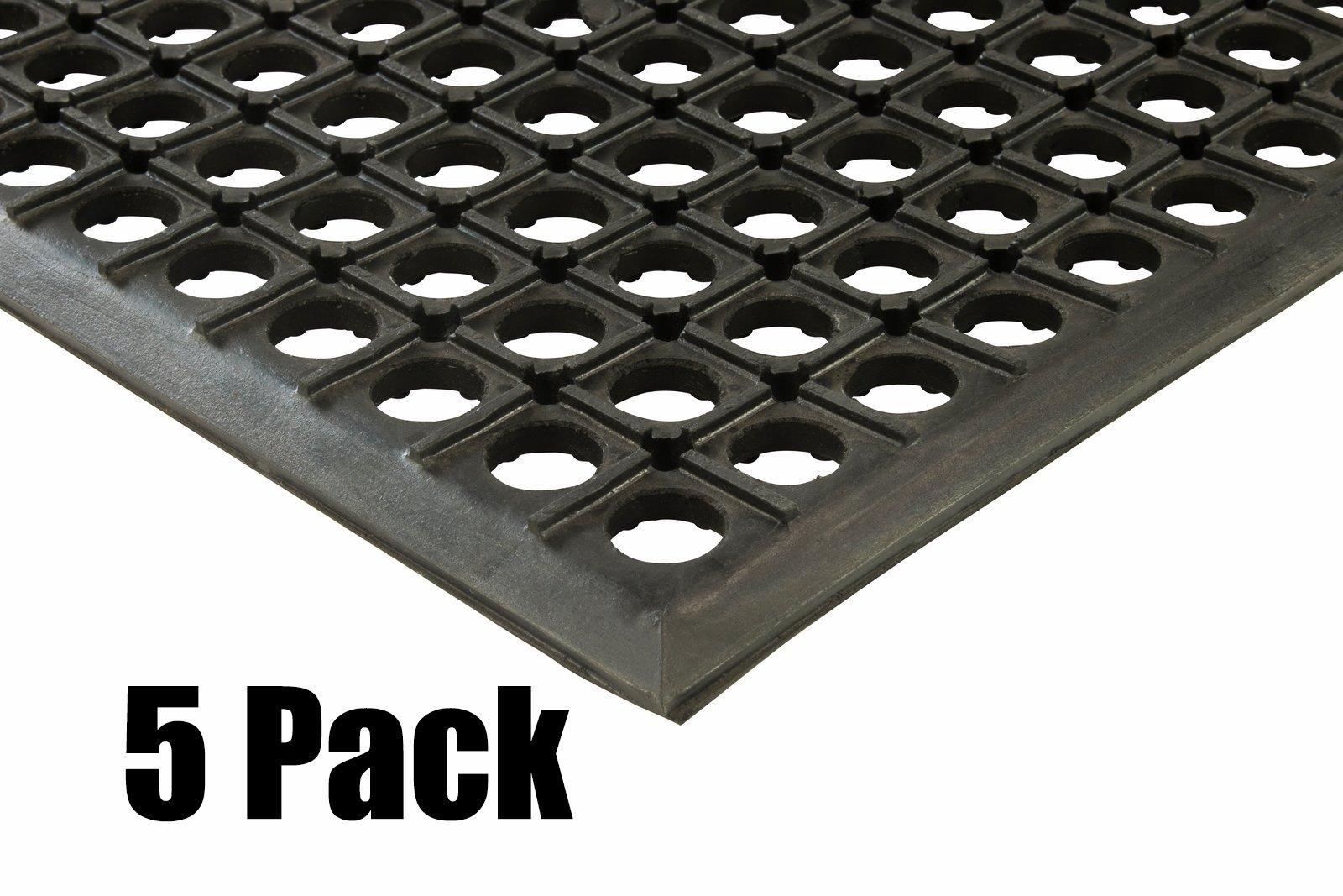 (5) Erie Tools 3x5 Rubber Drainage Floor Mat 36'' x 60'' Anti-Fatigue Anti-slip