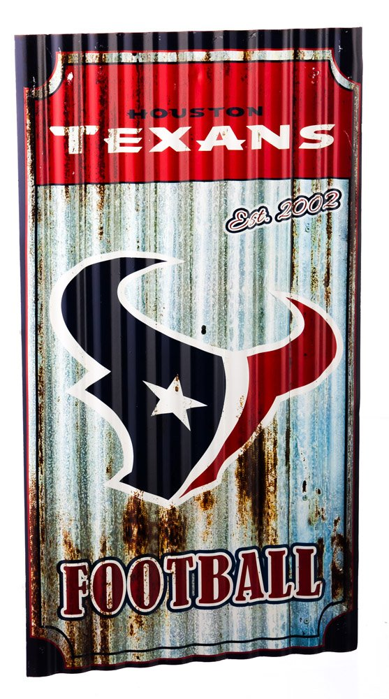 NFL Houston Texans Corrugated Metal Wall Art, Small, Multicolored by Team Sports America