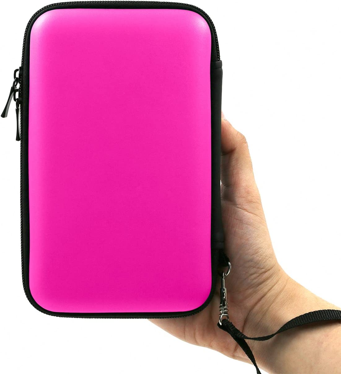 ADVcer 3DS Case, EVA Waterproof Hard Shield Protective Carrying Case with Detachable Hand Wrist Strap for Nintendo New 3DS XL, New 3DS, 3DS, 3DS XL, 3DS LL, DSi, Dsi XL, DS, DS Lite or 2DS XL, Fuchsia