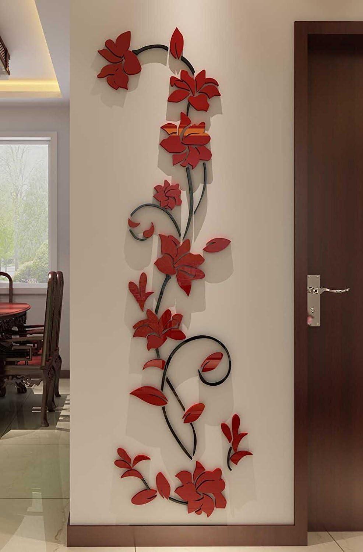 Mural vinilico 3D rattan de flores en 178 x 56 cm vertical