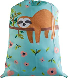 Large Laundry Bag - Store Dirty Clothes at Summer Camp, College Dorm, or Home - 16 Designs Available - 24 x 32 inches (Floral Sloth)