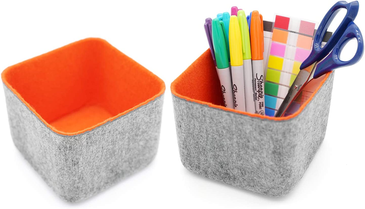Welaxy Office drawer organizer bins storage bin felt desk organizers dividers stylish home decor pack of 2 (orange)