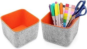 Welaxy Office drawer organizer bins storage bin felt desk organizers dividers stylish home decor pack of 2 (orange)