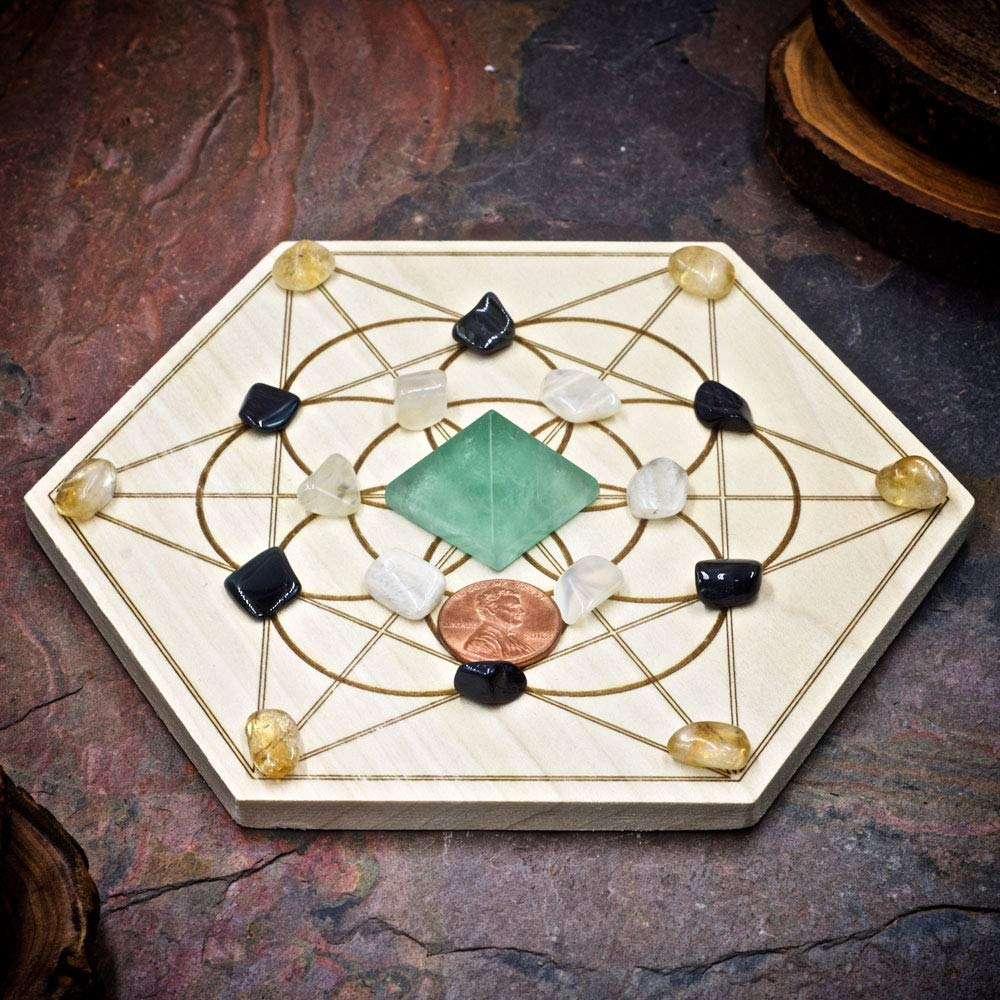 New Beginnings Mini Crystal Grid Set with 6 inch Sacred Geometry Grid Board and Green Fluorite Blue Tiger Eye Moonstone and Citrine