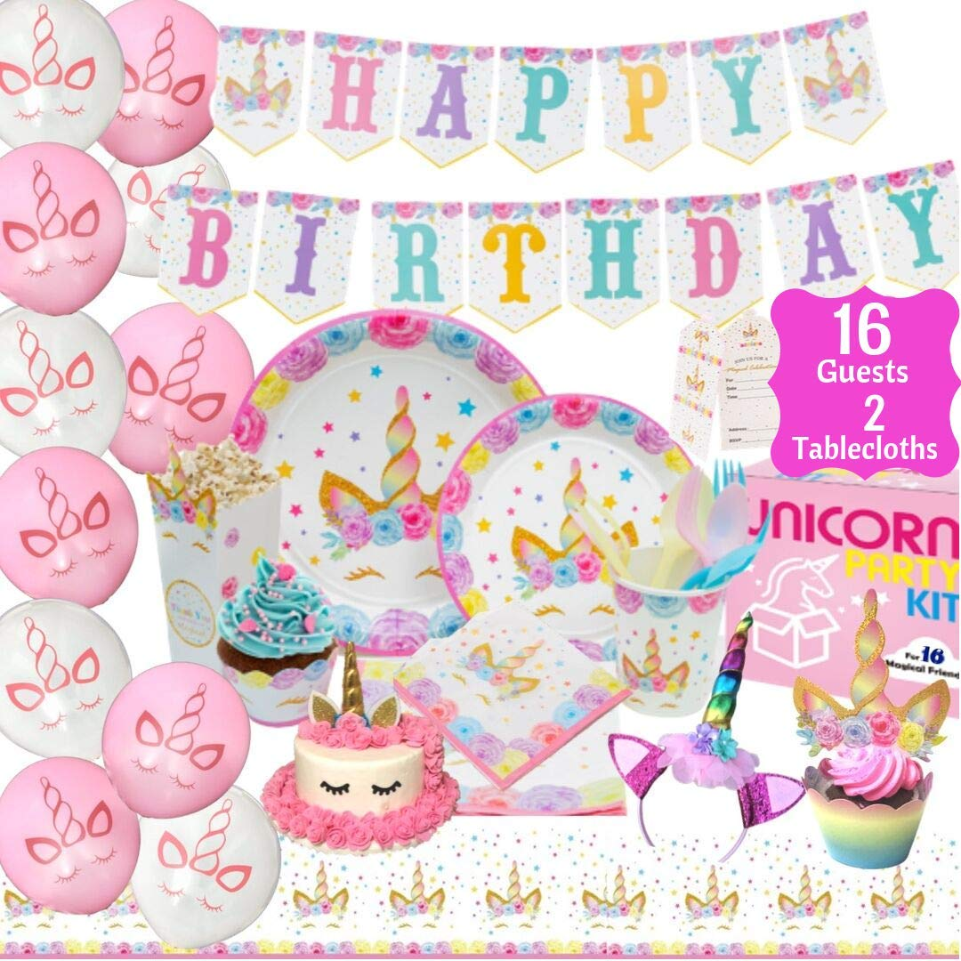 Unicorn Party Supplies Kit - Birthday Party Supplies|Headband|Cake Topper| Cupcake Wrappers|Popcorn Boxes Party Favors Bags| Napkins| Plates|Cups| 2 Table Cloths Decorations Theme for Girls| Serve 16! by PARTY PENNY
