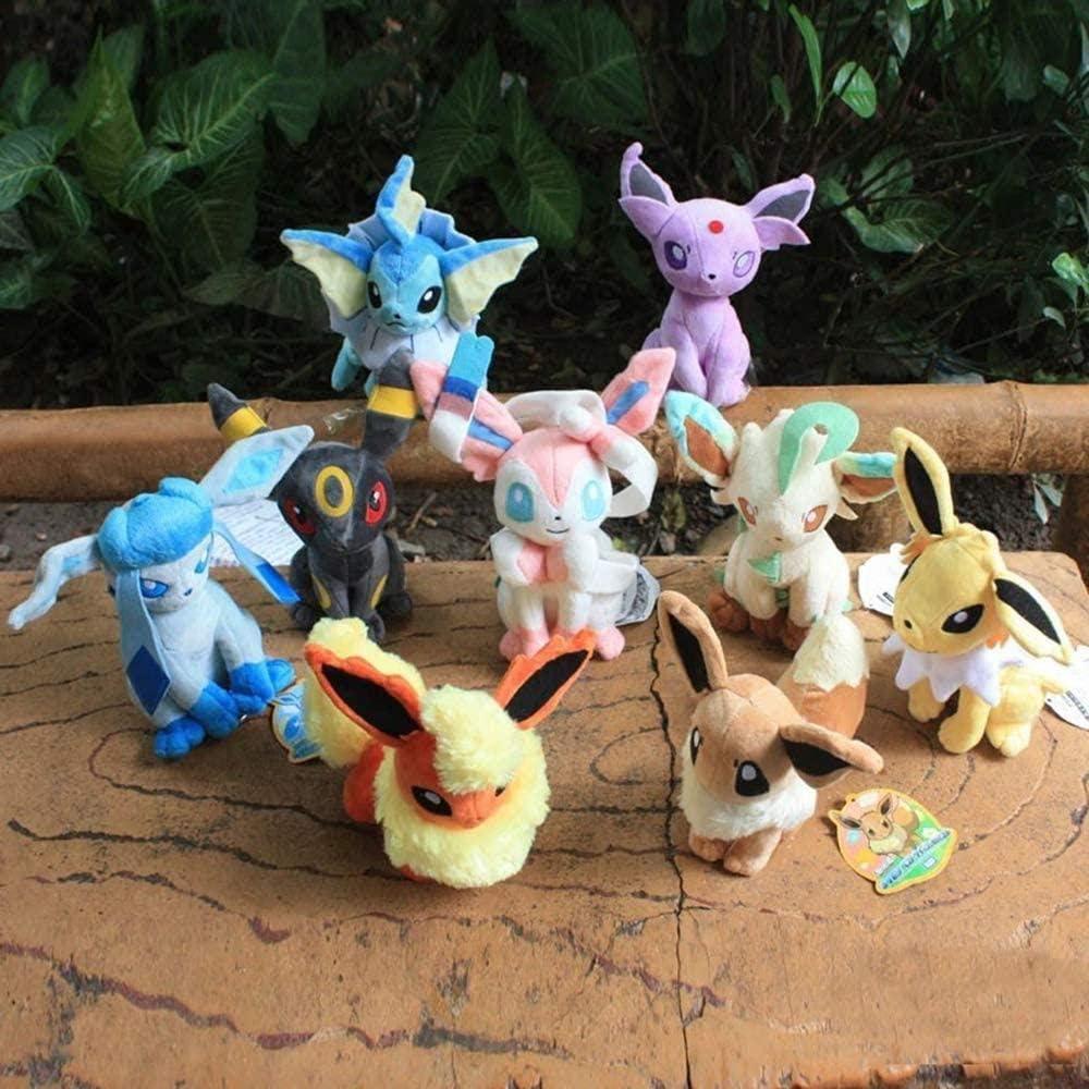 14-21 cm ANWEN Set di 9 Peluche Evoli e i Suoi sviluppi Peluche Peluche Pokemon Peluche Umbreon Vapoeron Nachtara