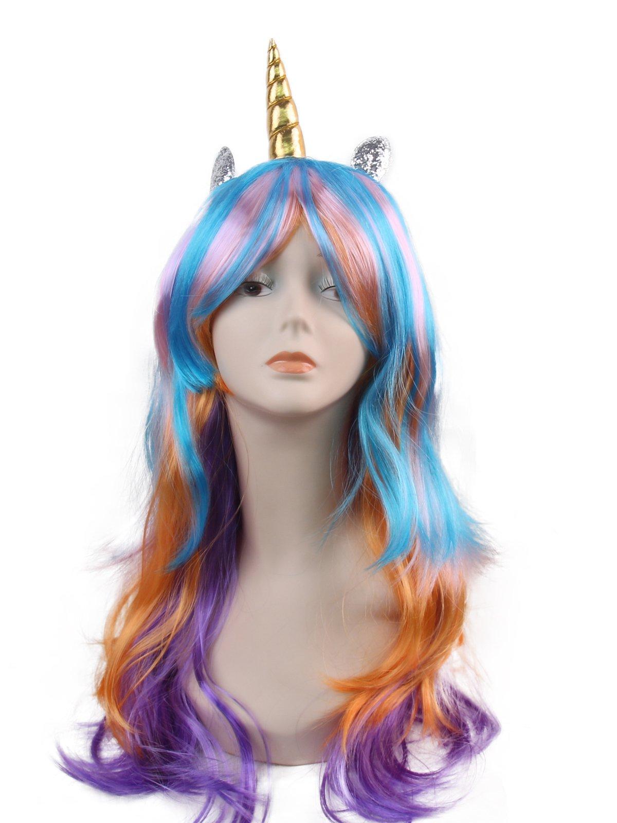 kaste Women Princess Rainbow Unicorn Wig Long Curly Hair Wigs Halloween Party Cosplay Wig Fit Women