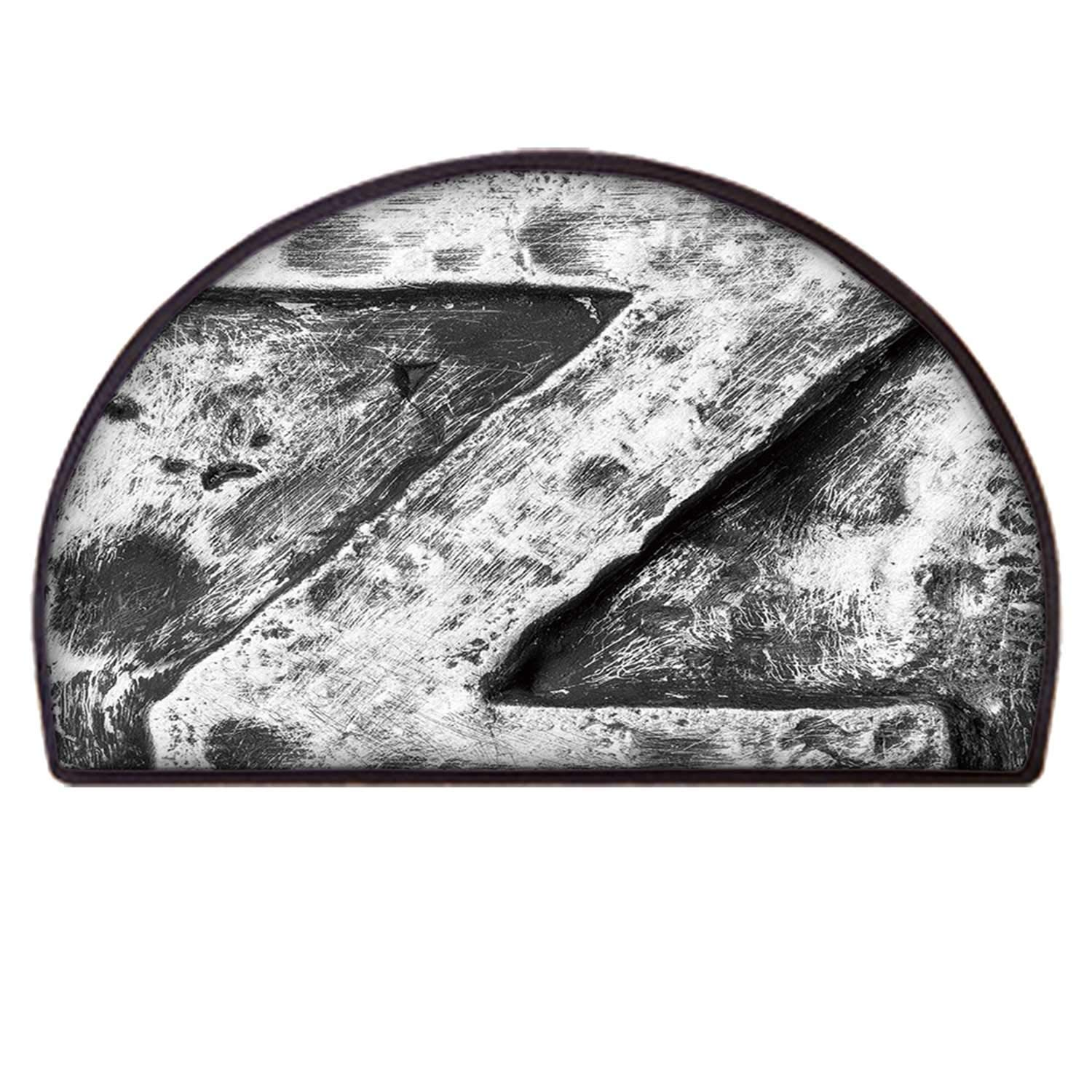 C COABALLA Letter Z Simple Semicircle Mat,Capital Z Letter Name Identity Initials VIP Rusty Tone Effects Aged Look Print Decorative for Living Room,65 x 130cm / 25.59 x 51.18 inch by C COABALLA