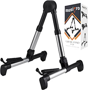 Musipro Guitar Stand for Electric and Acoustic Guitar or Bass - Strong Lightweight Fully Adjustable Folding Stands for Classical Solid and Offset Body - Full 3/4 1/2 1/4 Sizes - also Ukulele Mandolin Banjo Electric Basses (Silver)
