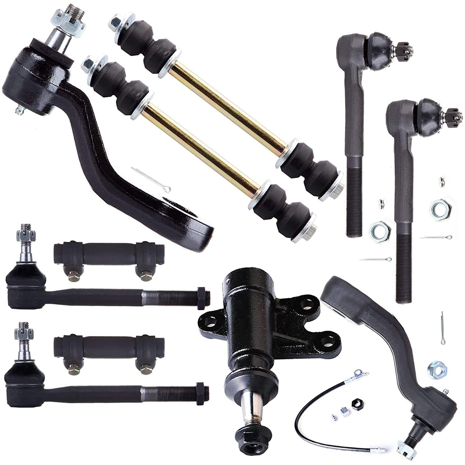 SCITOO 11pcs Suspension Kit 2 Front Outer 2 Inner Tie Rod End 2 Adjusting Sleeve 2 Stabilizer Bar 1 Idler Arm Bracket 1 Pitman 1 Idler Arm fit for 1993-1999 GMC Yukon 4WD K6447