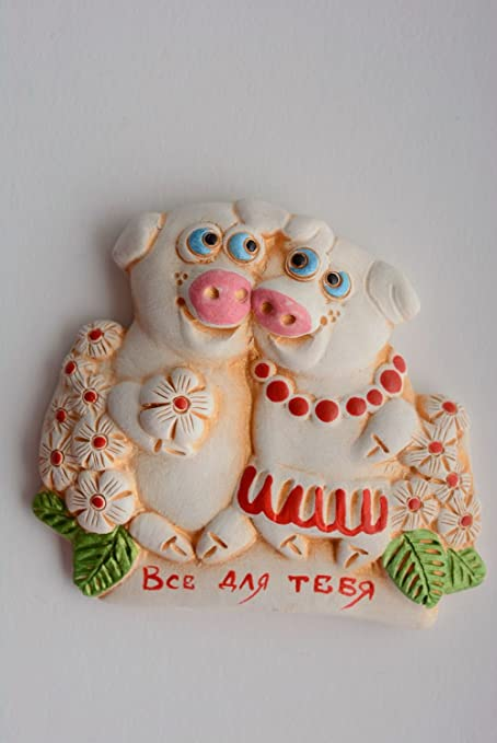 Ceramic Handmade Fridge Magnet Pigs Kitchen Decorating Ideas