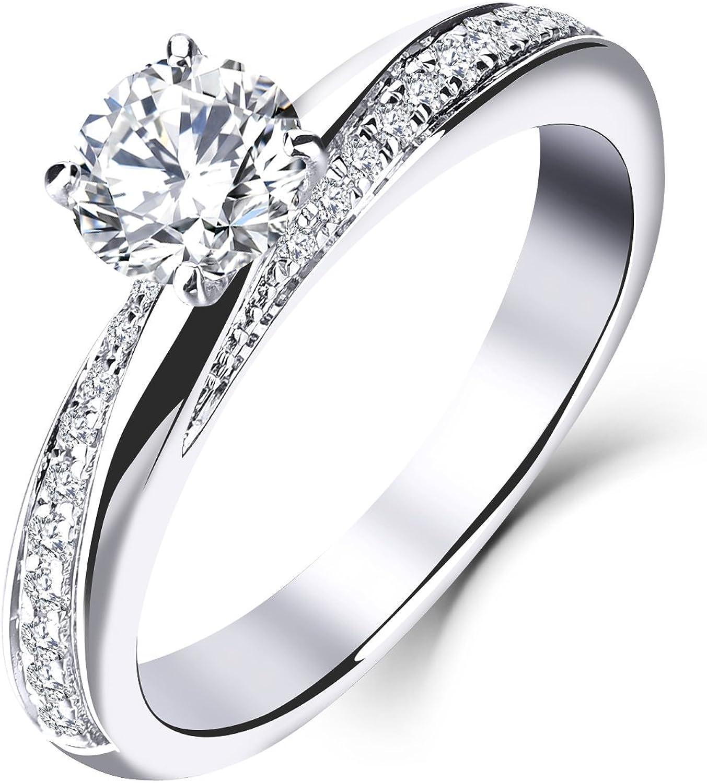 YL 9ct oro blanco 5MM 0.5 ct Moissanite y anillo de bodas de compromiso de diamantes naturales