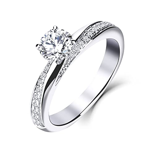 YL 9ct oro blanco 5MM 0.5 ct Moissanite y anillo de bodas de compromiso de diamantes