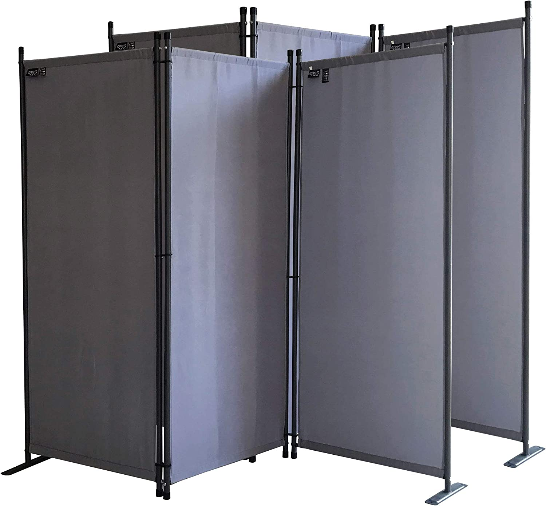 QUICK STAR 2 piezas Paravent 170 x 165 cm Tejido Divisor de habitación Jardín 3-Partición Pared de separación Plegable Balcón Pantalla de privacidad Gris: Amazon.es: Jardín