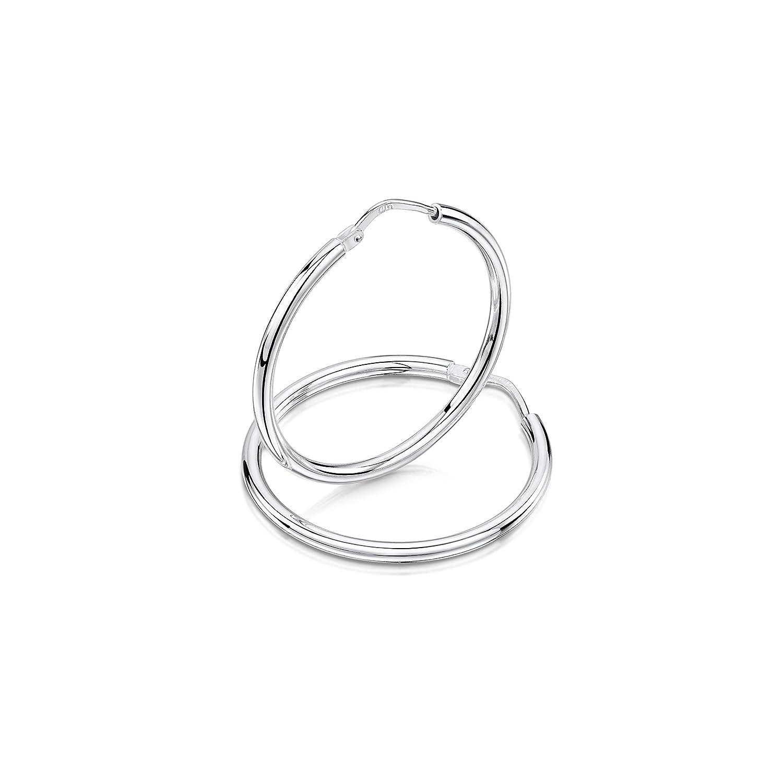 Amberta/® 925 Plata de ley Pendiente de aro fino con cierre de bisagra Di/ámetro 7 10 15 20 25 35 45 55 mm Pendientes de aro tipo criolla