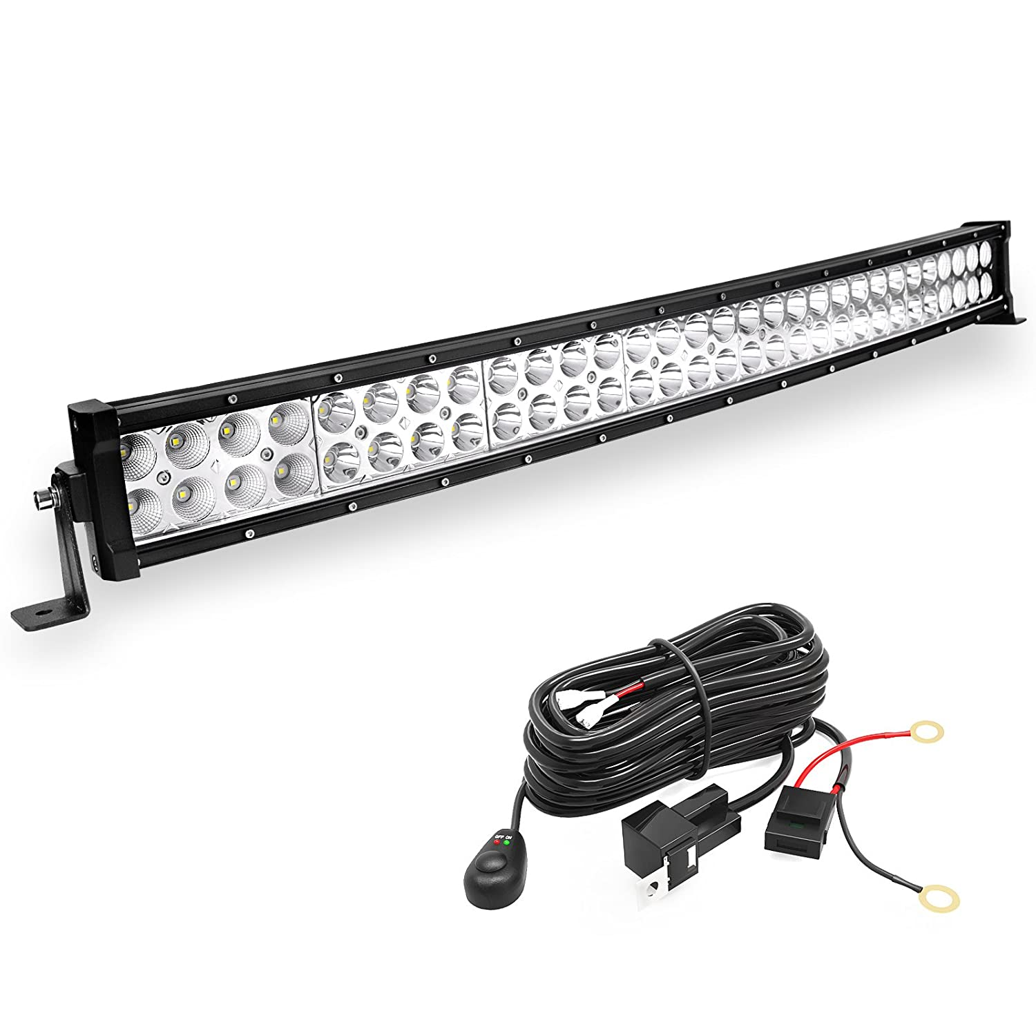 Yitamotor 42 Inch 400w Curved Led Light Bar Spot Flood Combo Offroad Off Road Lights Wiring Harness With 12v