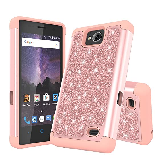 for ZTE Tempo (N9131)/ Majesty Pro Z798BL/ Majesty Pro Plus Z899VL Cute  Glitter Bling Sparkle Dual Layer Protective Hybrid Case with HD Screen