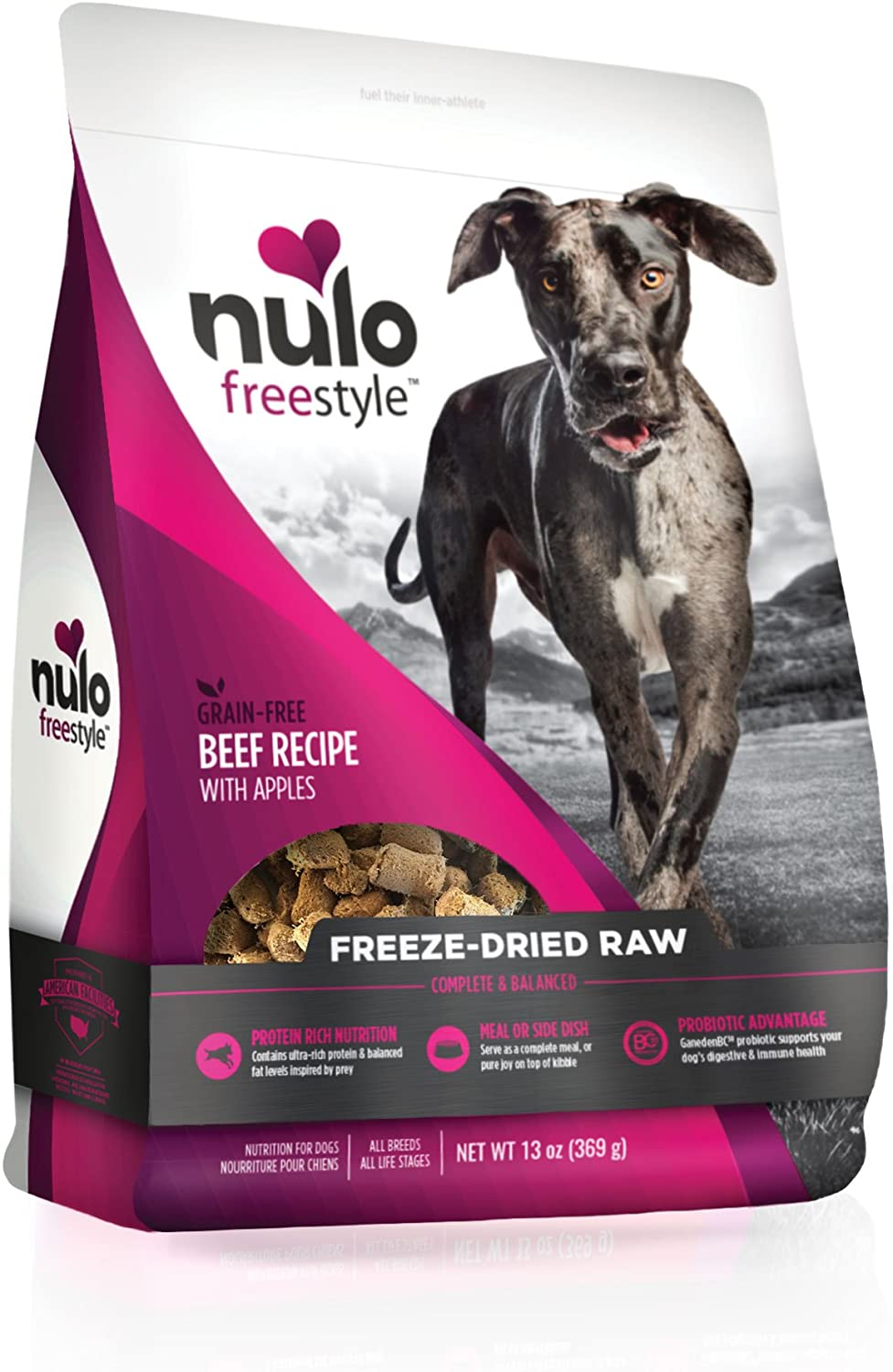 Nulo Freeze Dried Raw Dog Food for All Ages & Breeds: Natural Grain Free Formula with GanedenBC30 Probiotics for Digestive & Immune Health - 5 or 13 oz Bag