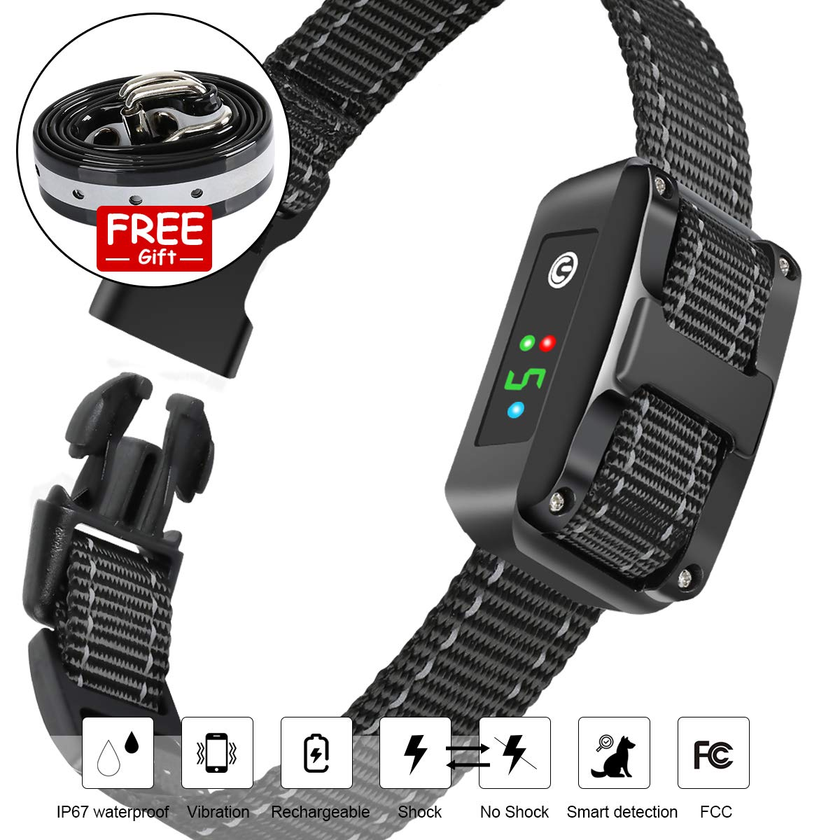 Rechargeable Bark Collar with Upgraded Smart Detection Module - Safe Anti Barking Devices Training Control Collars for Small, Medium, Large Dogs All Breeds, IP67 Waterproof