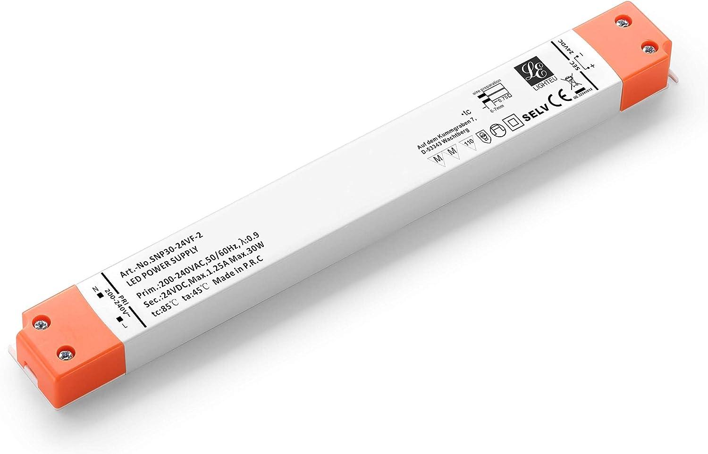 LIGHTEU, fuente de alimentación LED ultradelgada para transformadores - 30W, 24V DC, 1.25A - Voltaje constante para tiras de LED Perfiles de aluminio y marcos de paneles LED 251 * 30 * 16 mm