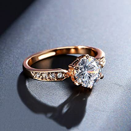 Amazon Com 1 75ct Aaa Zircon Engagement Rings For Women Rose Gold