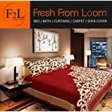 Fresh From Loom 500 TC Chenille Double Bedsheet with 2 Pillow Covers - Abstract, Red Design May Vary