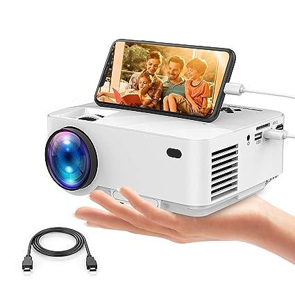 Mini proyector, 2400 Lumens LCD minibeamer y iPad/Smartphones con Cable USB anschlie en, Multimedia Cine en casa proyector de Vídeo Apoyo 1080P HDMI ...