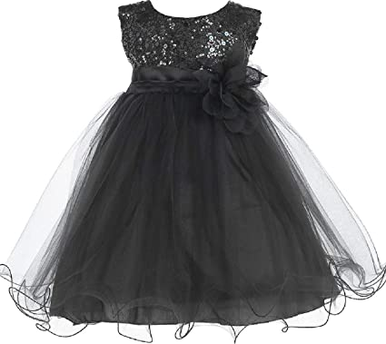 035e5a3f Little Baby Girls Sleeveless Sequin Glitter Little Baby Infant Toddler  Flower Girl Dress Black Black Flower