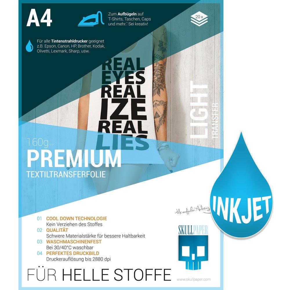 Skullpaper A4 Transferfolie Für Helle Stoffe Und Tintenstrahldrucker