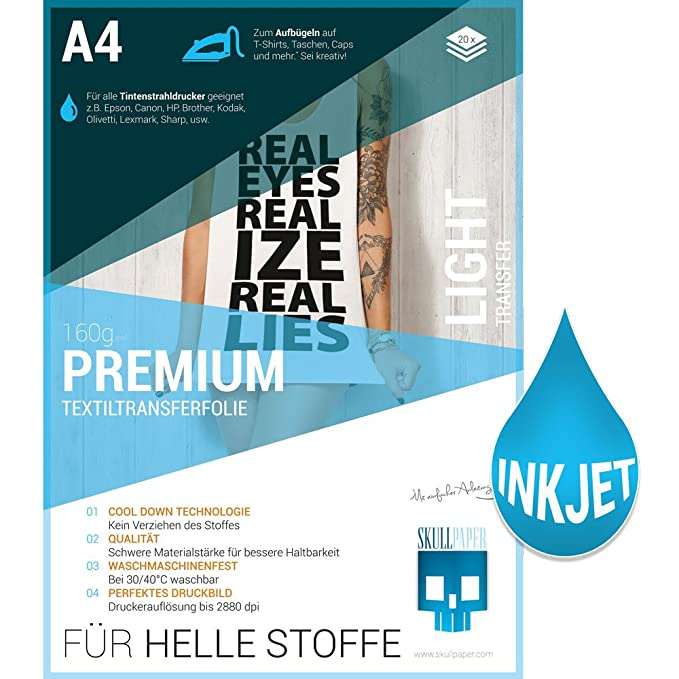 Skullpaper A4 Transferfolie Für Helle Stoffe Und Tintenstrahldrucker Inkl 200 Motive 20 Blatt