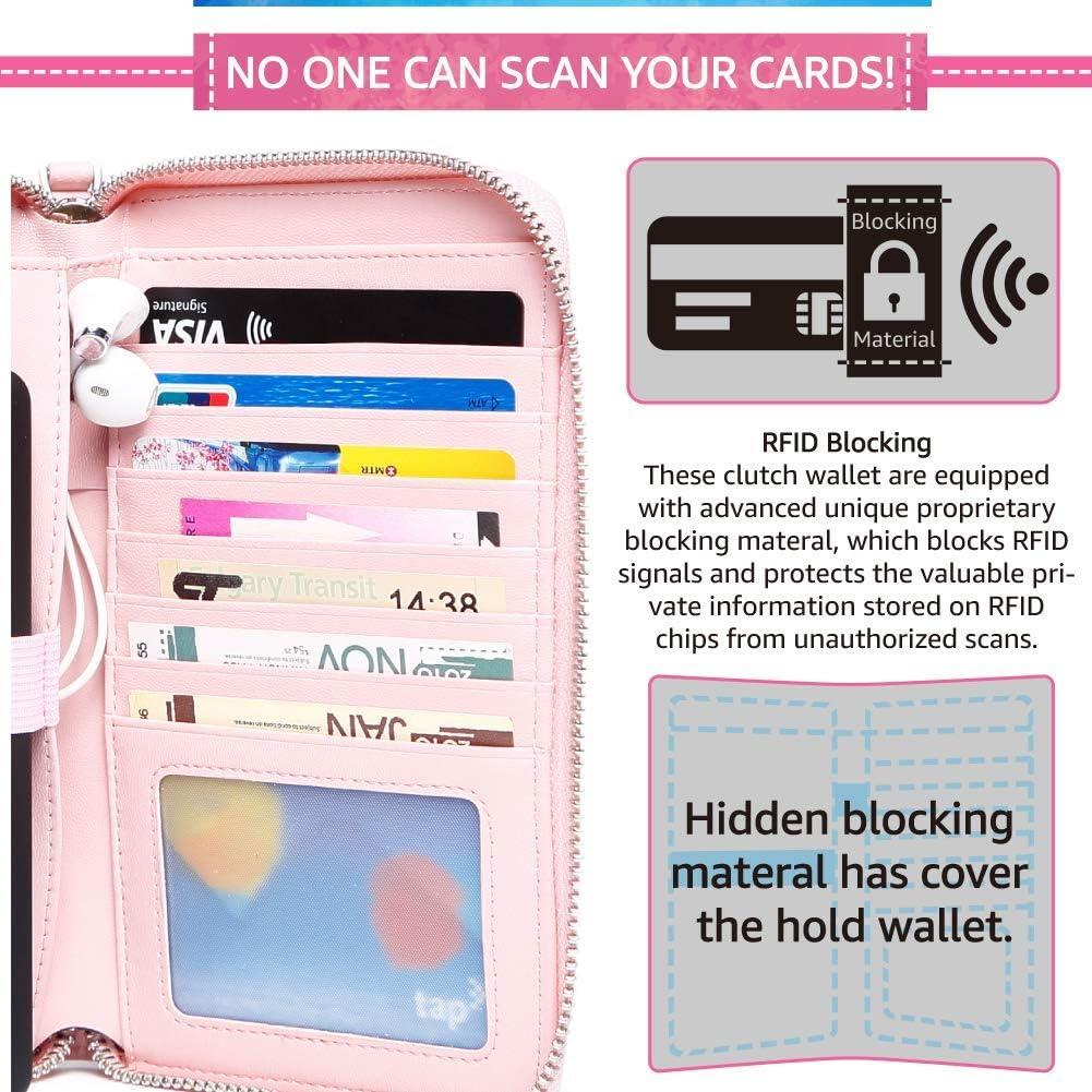 Donne RFID Blocco Frizione Viaggio Borsa da Polso Cinturino Portafoglio Borse a Spalla Donna con Borsa Power Bank tasca per cellulare supporto per auricolari