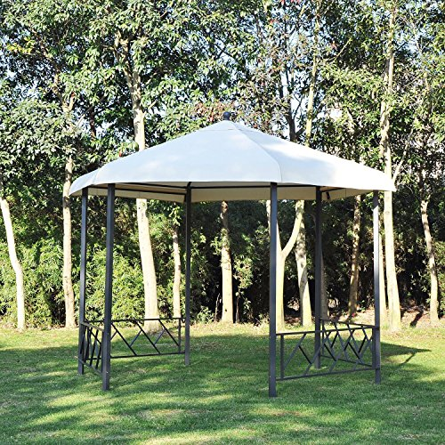 Outsunny 12' x 12' Steel Hexagonal Gazebo Canopy with Removable Side Panels by Outsunny (Image #2)