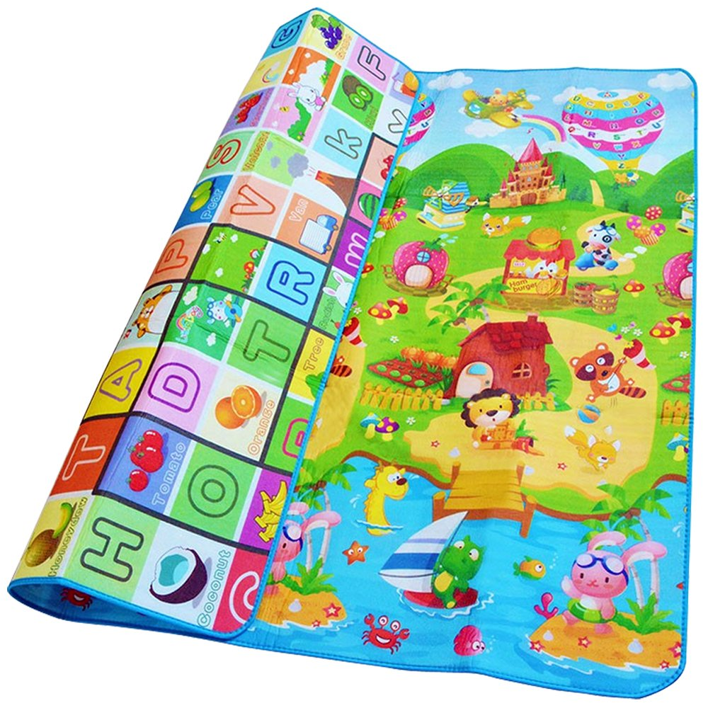 Denny International/® Kids Crawling Educational Play Mat 2 Side Game Soft Foam Large Size Picnic Carpet 200X180cm Play Ground Design