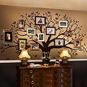 "Simple Shapes Family Tree Wall Decal (Chestnut Brown, Standard Size: 107"" w x 90"" h)"