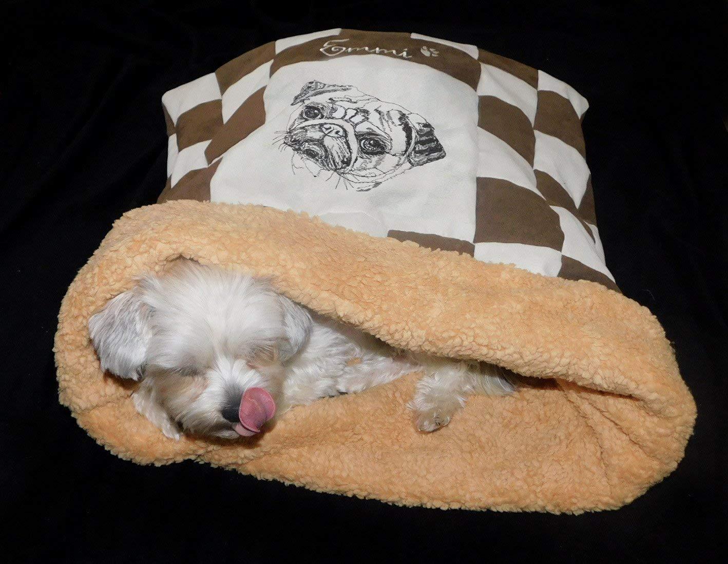 LunaChild Hunde Kuschelhöhle Mops 1 Name Snuggle Bag Wunschname Größe S M L oder XL in vielen Farben erhältlich