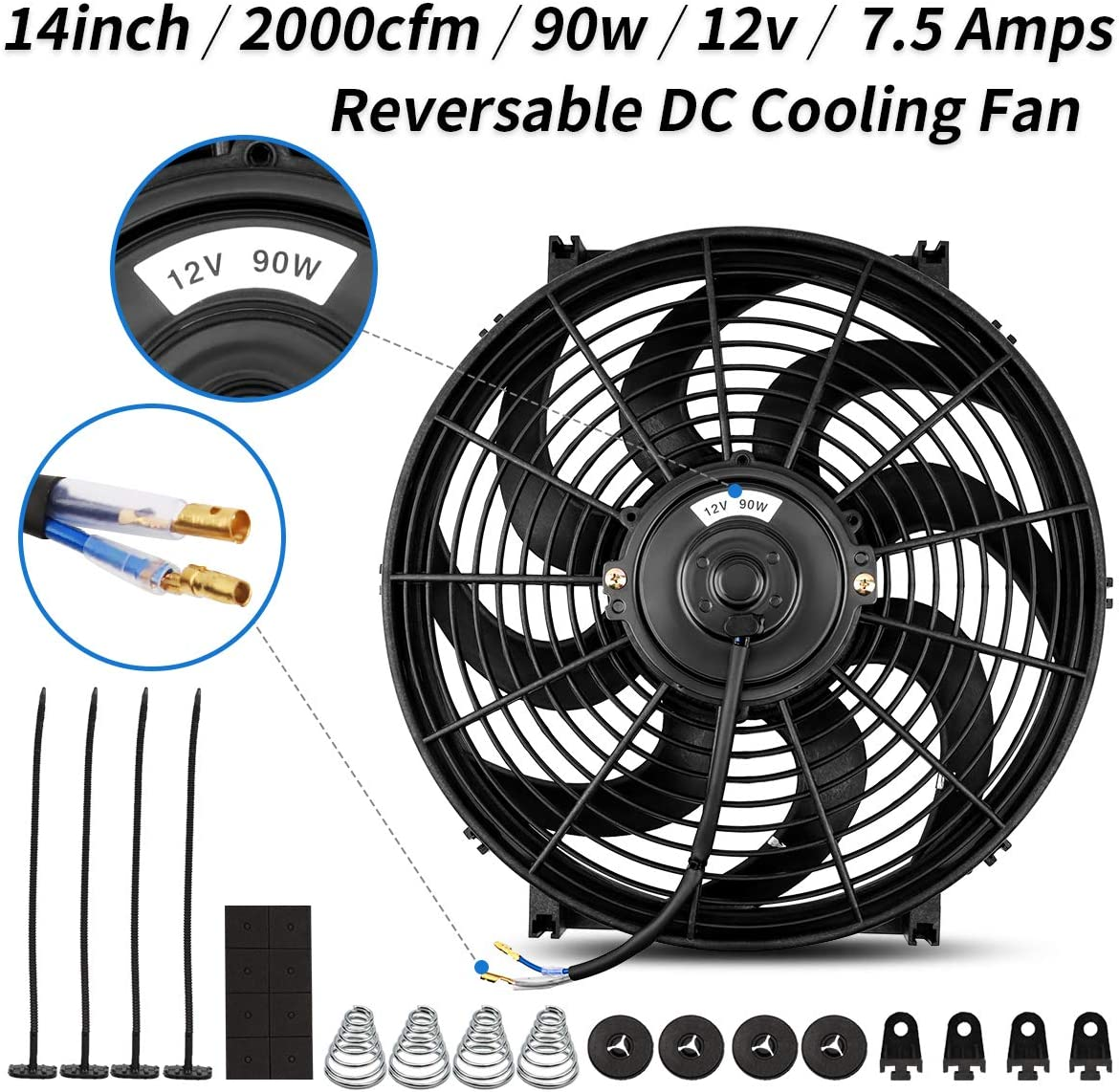 Universal High Performance Reversible 14 Inch Engine Radiator Cooling Fan with Mounting Kit 2000 CFM 12 Volts 7.5 Amps 90 Watts