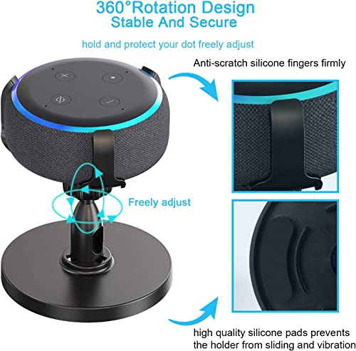 Fiada Table Holder for Dot 3rd Generation, 360 Adjustable Stand Mount Bracket Cradle with Rubber Protection for Smart Home Speaker, Improves Sound Visibility and Appearance, 2 Packs