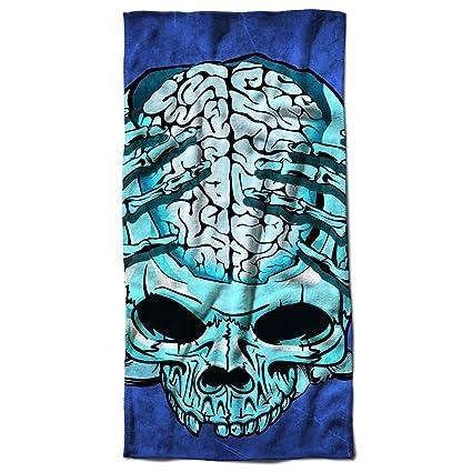 Scheletro Freddo arrabbiato cranio Biker Anima toalla de playa | Wellcoda, microfibra, multicolor,