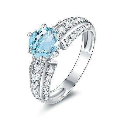 952b15905bdf Blisfille Joyas Anillos Plata Mujer Compromiso Anillo de Round Shape Anillo  Oro Blanco y Diamante Anillo de Plata de Ley 925