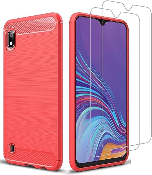 Avesfer Coque pour Samsung Galaxy A10 M10 avec protection d'écran en verre trempé fin et résistant en TPU souple et fibre de carbone pour Samsung ...