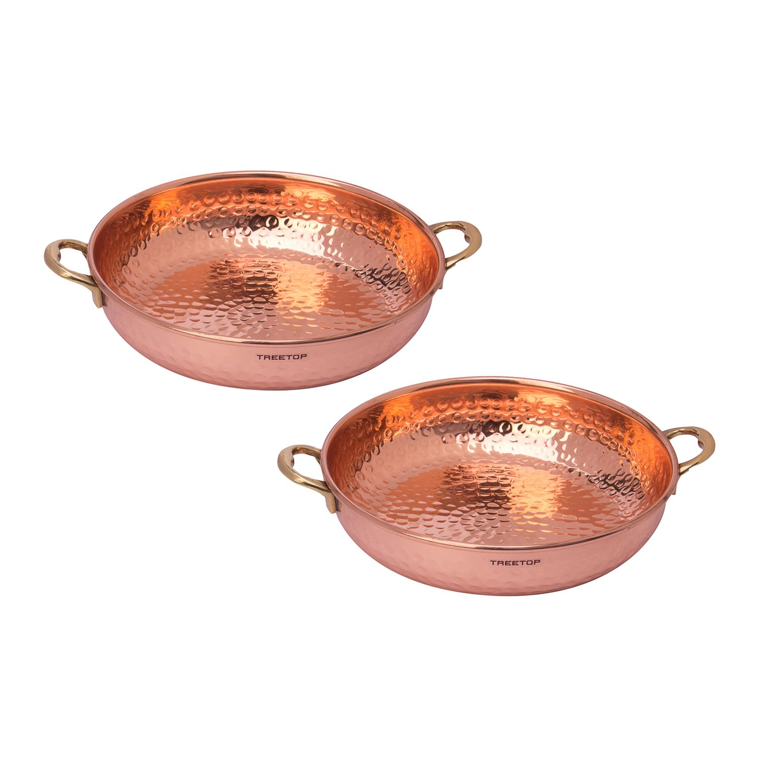 Treetop Copper Bowl for Salads or Dry Snacks -Set of 2 with fork.