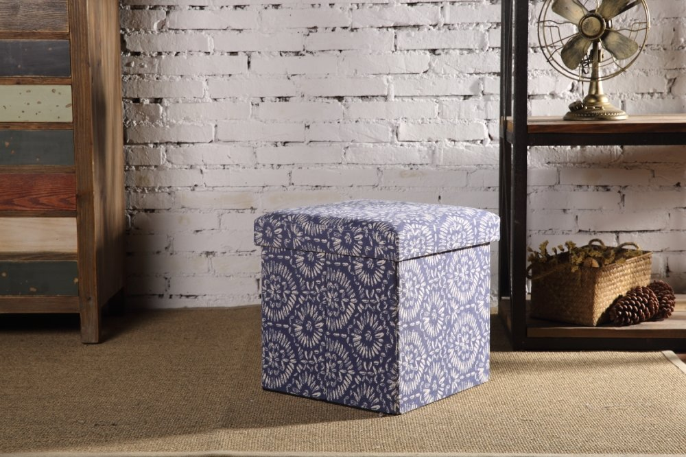Creative Living 4FO-BLUE Indoor Storage Ottoman, Blue