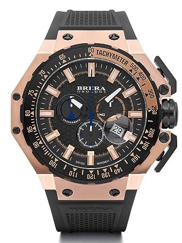 Brera Orologi brgtc5408 gran turismo fabricada en Suiza Ronda 5030.d Dial Rose Oro Tono Negro Correa de caucho reloj: Brera Orologi: Amazon.es: Relojes