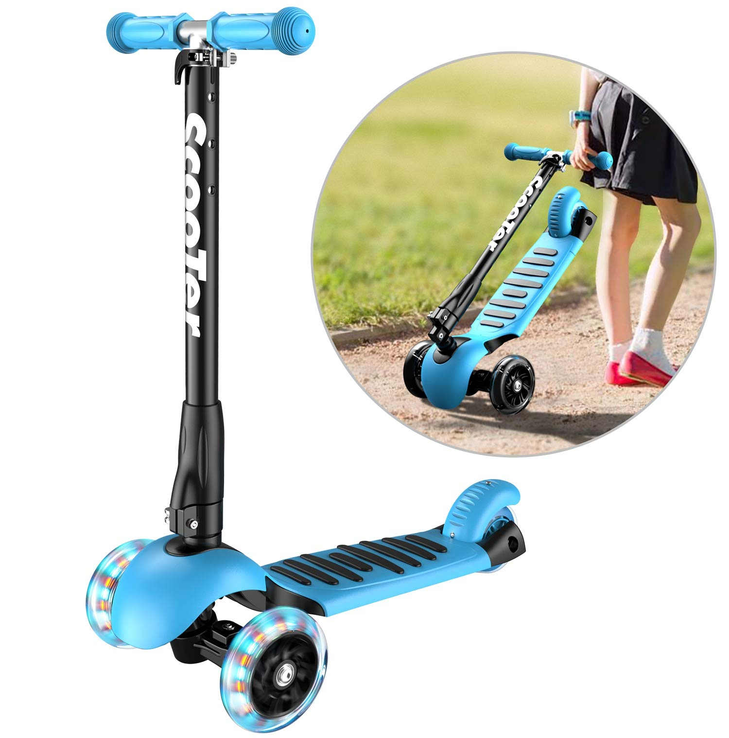 Banne Scooter Height Adjustable Lean to Steer Flashing PU Wheels 3 Wheel Kick Scooters for Kids Boys Girls (Blue) by Banne