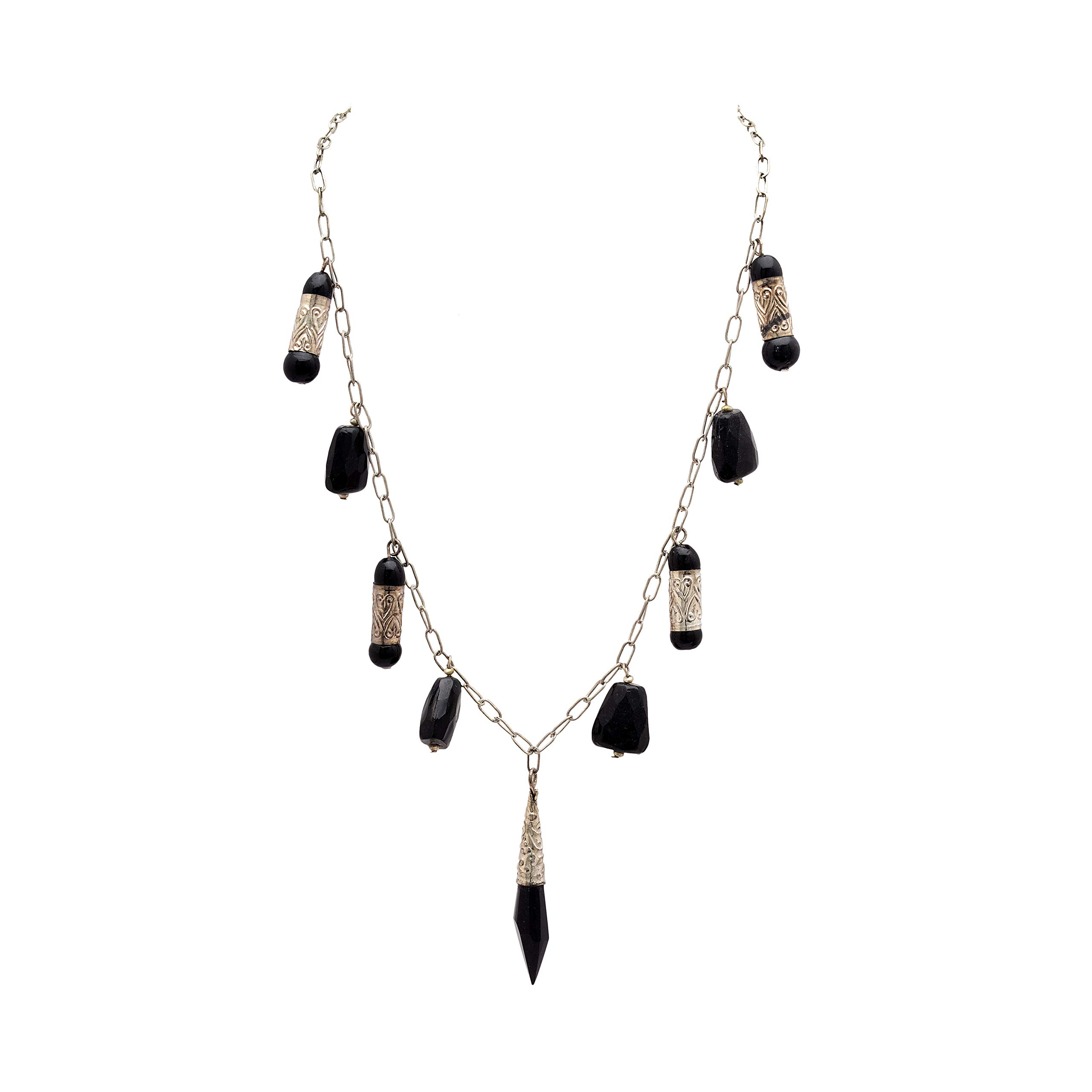 Zephyrr Necklace Women Stylish Black Beads Oxidized Silver Anchor Chain Chunky for Girls and Women
