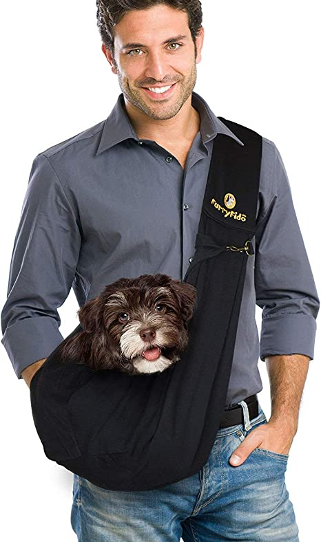 FurryFido Reversible Pet Sling Carrier - For Cats Dogs Up To ...