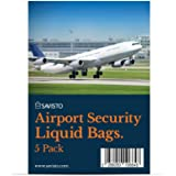 Savisto Airport Security Liquids Bag [Pack of 5], Re-Sealable Clear Travel Bag - Airport Approved, Compliant with Hand Luggage Restrictions at UK & EU Airports - 20cm x 20cm